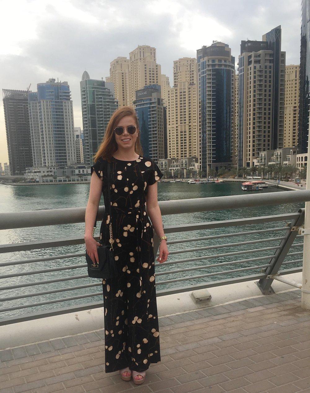 An awkward tourist photo down at Dubai Marina.