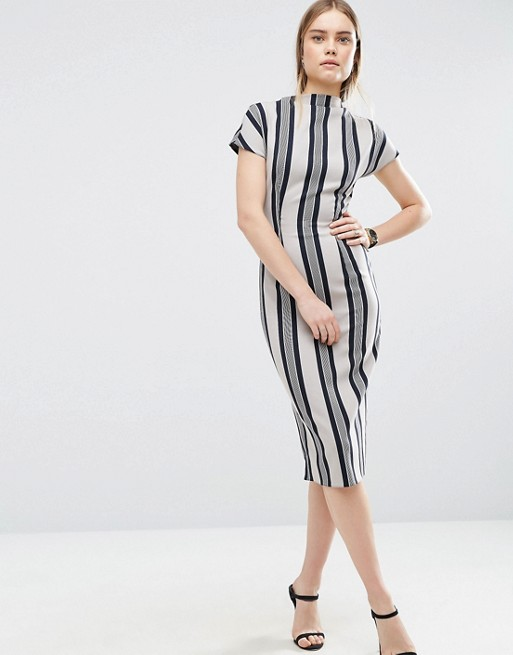 ASOS Wiggle Dress with High Neck & Split Front In Stripe- office fashion - how to price your margin