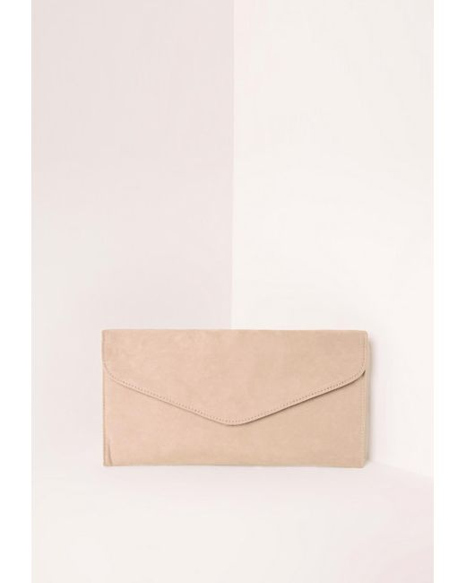Misguided Women's Faux Suede Envelope Clutch Bag Nude- office fashion