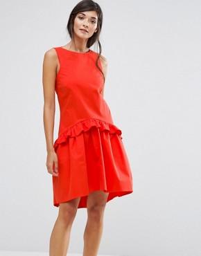 ASOS Closet London Drop Waist Ruffle Dress - office fashion