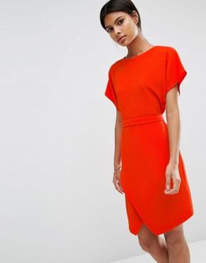 ASOS Tie Waist Dress with Asymmetric Hem- office fashion