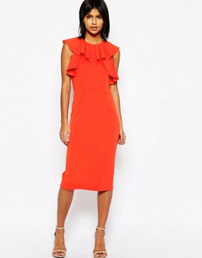 ASOS Pencil Dress With Ruffle Detail - offoce fashion