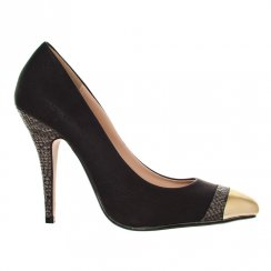 Miss Diva - KELLY Pointy Toe Slim High Heel Gladiator Court Shoe With A Gold Metal Cap - office fashion