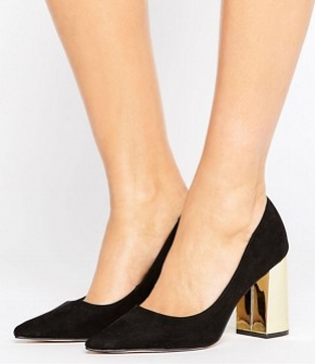 New Look Suedette Wide Fit Shoe with Gold Block Heel - office fashion