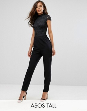 ASOS TALL Lace Top Jumpsuit-0 office fashion