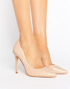 London Rebel Open Waisted Patent Nude Court Shoe Heel - office fashion  deals in high heels