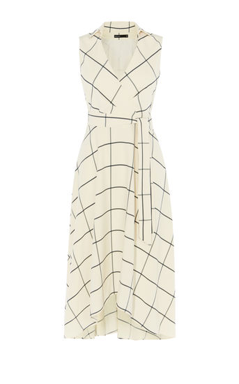 karen millen - WHITE MIDI WRAP DRESS - WHITE/MULTI - office fashion - briar prestidge - deals in high heels