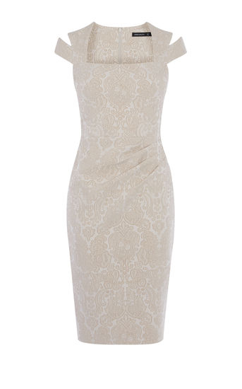 karen millen-   JACQUARD PENCIL DRESS - CHAMPAGNE- office fashion - briar prestidge - deals in high heels