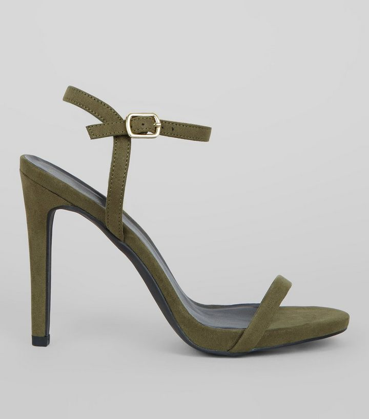 new look - Khaki Ankle Strap Heels - briar prestidge - deals in high heels