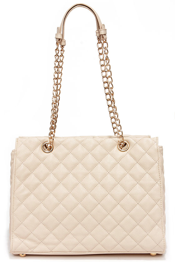 QUILT-Y AS CHARGED LIGHT BEIGE QUILTED HANDBAG- briar prestidge - deals in high heels