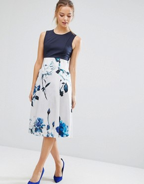 Closet London Skater Midi Dress With Floral Skirt - office fashion - deals in high heels