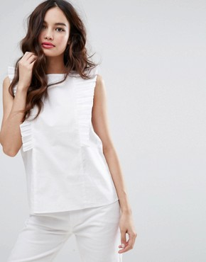 Fashion Union High Neck Blouse With Frills - white top for the office - deals in high heels