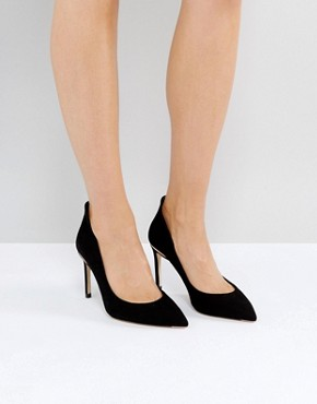 Ted Baker Savio Black Suede Curved Court Shoes- deals in high heels