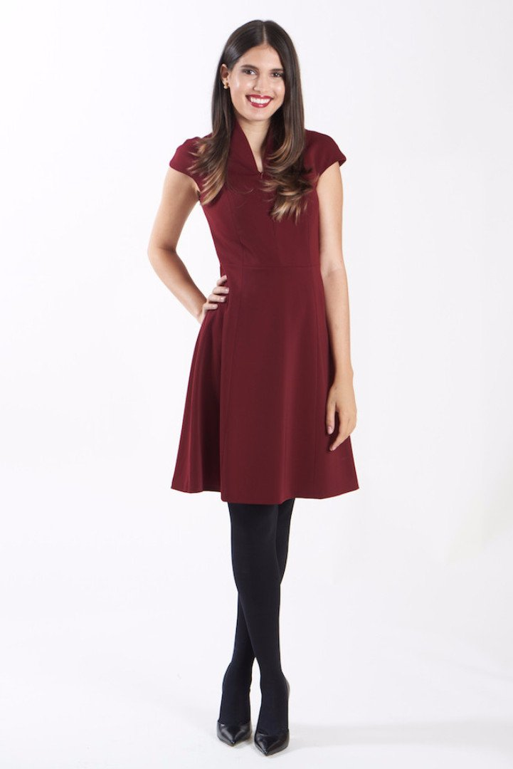 EVELYN FIT-AND-FLARE DRESS - MERLOT- nora gardner