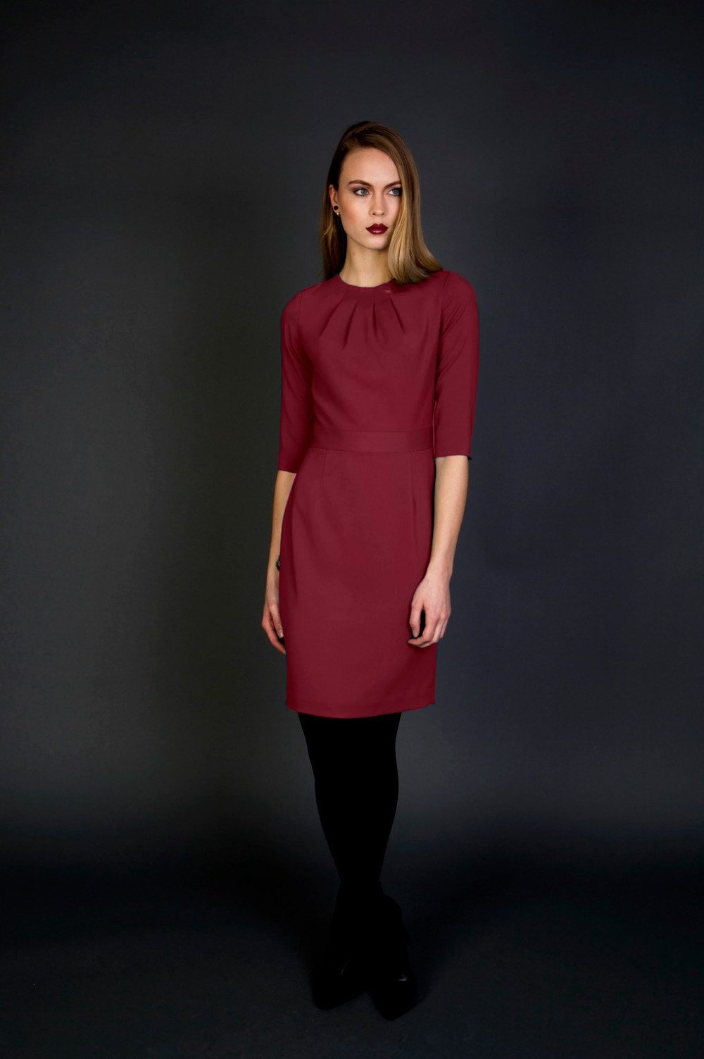 nora gardner - georgina-dress-merlot