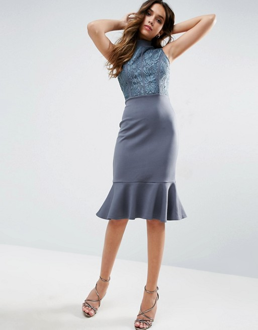 Club L High Neck Midi Peplum Scuba Dress