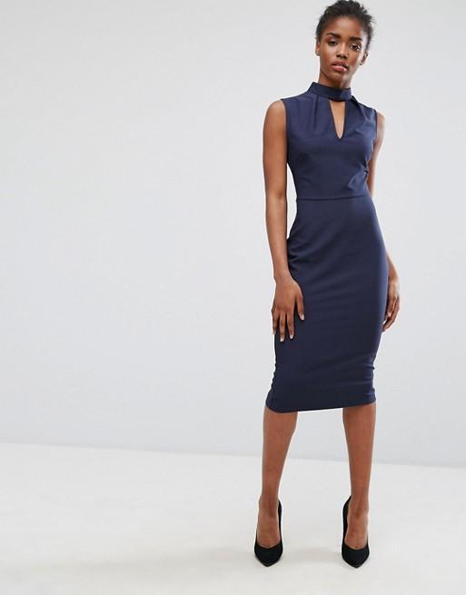 Alter Choker Neck Pencil Dress- office workwear - navy dress