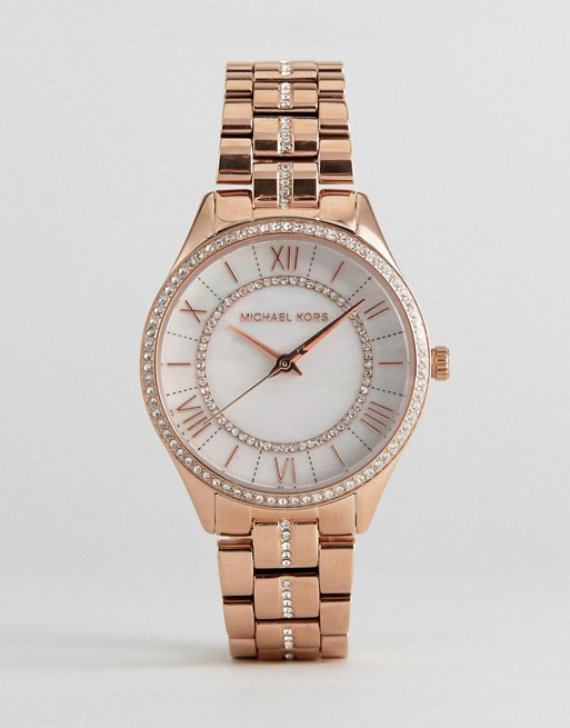 Michael Kors MK3716 Lauryn Glitter Bracelet Watch In Rose Gold