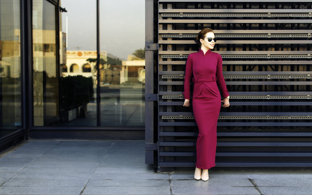 Photos are taken around Dubai Box Park. For today's office look I'm wearing a beautiful fuchsia dress by Amri Fashion, beige Aldo heels, Michael Kors watch and Prada sunglasses (look linked below).