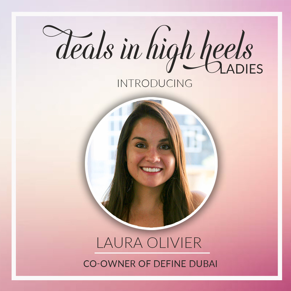 A California native, Laura is a co-owner of DEFINE Dubai, a boutique fitness studio in the Dubai Marina which offers high- quality barre, cycling, and yoga classes. Classes are dynamic and effective that make up a balanced fitness regimen of strength, cardio, and muscle-lengthening workouts.   DEFINE Dubai is offering 15% off all class packages (sets of 5,10,20 classes). Check them out and say hello to Laura! Email her at    Laura.olivier@definebody.com    or visit their website at    www.dubai.definebody.com.