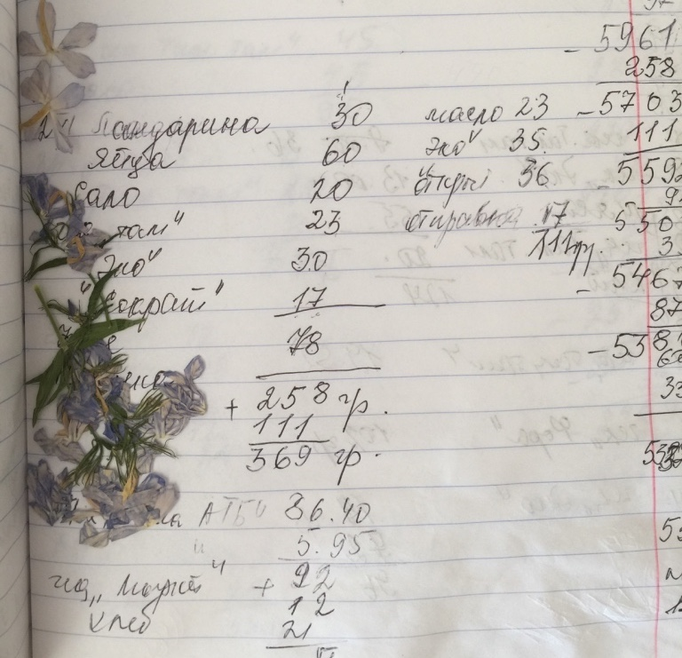 My grandmother's handwriting and her notebook used for accounting for money spent on groceries. From 2016 in Kiev.