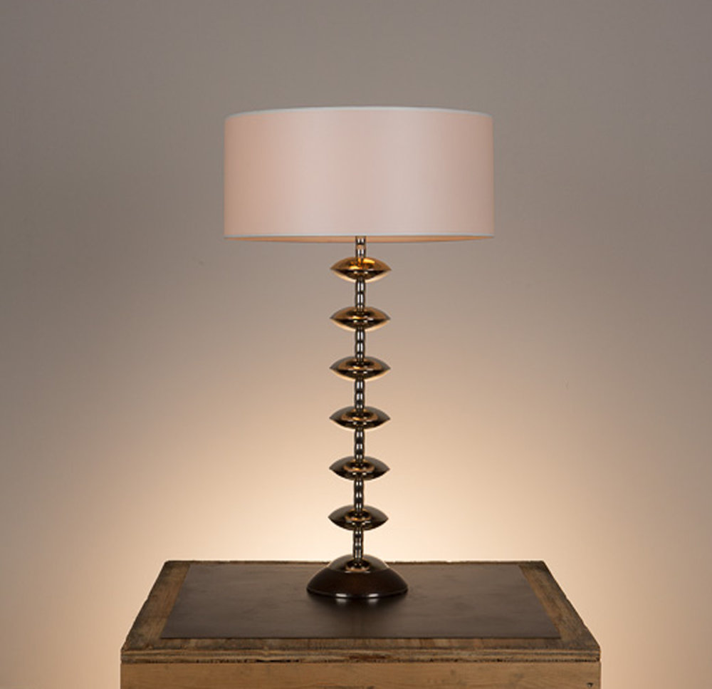 Alcazar Table Lamp #1  Kona walnut base, polished nickel fittings. Semi-closed top desk lamp shade in 881 beige pongee.