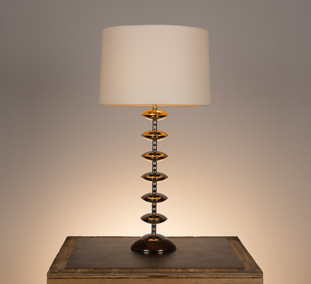 Alcazar Table Lamp #2  Kona walnut base, polished nickel fittings. Semi-closed top lamp shade in vellum.
