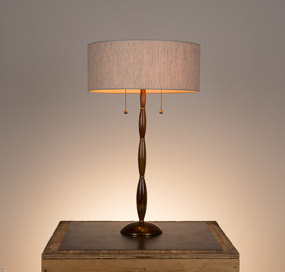 Alexis Table Lamp #1  Walnut in a medium brown finish, unlacquered hand polished brass fittings. Semi-closed top desk lamp shade in 817 beige linen.