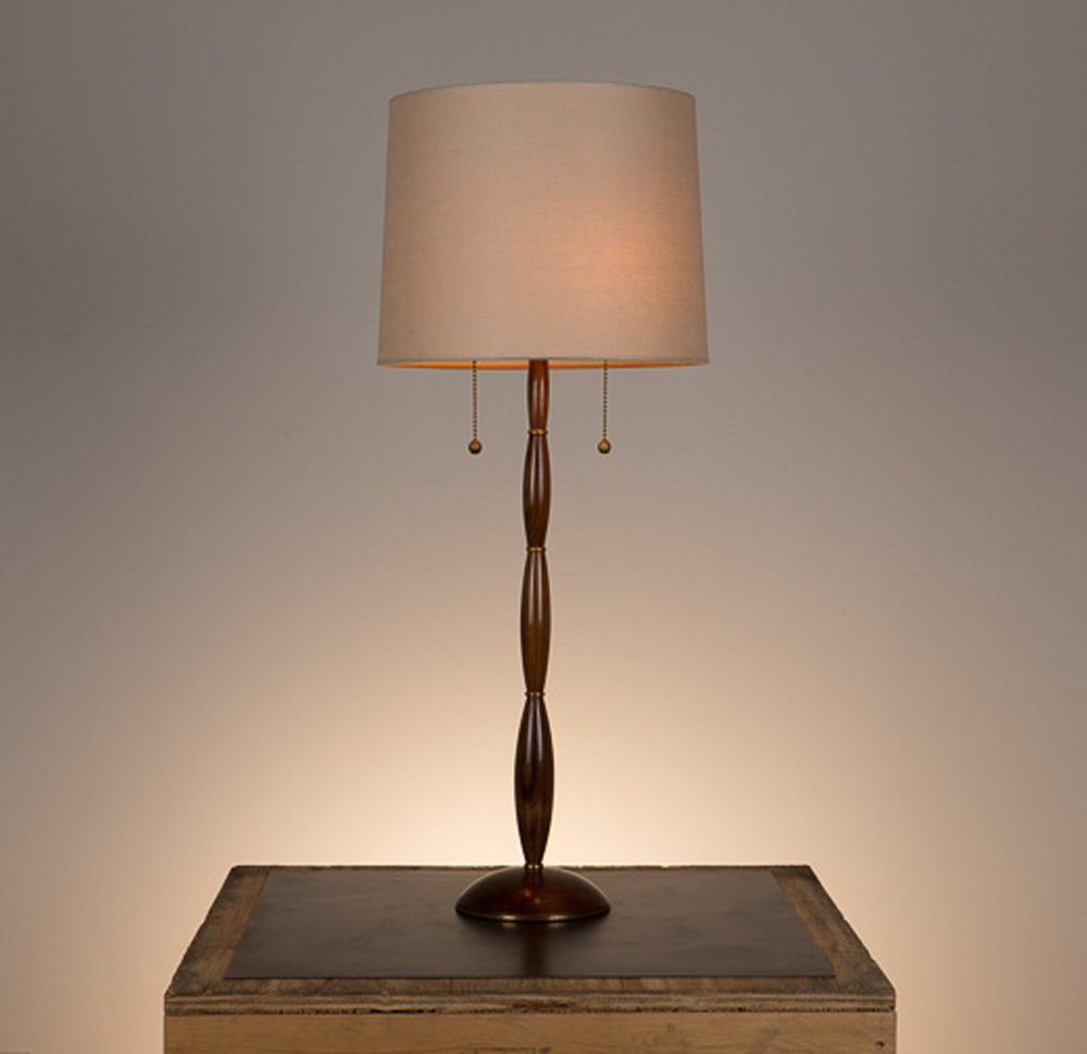 Alexis Table Lamp #2  Walnut in a medium brown finish, unlacquered hand polished brass fittings. 738 beige linen shade.