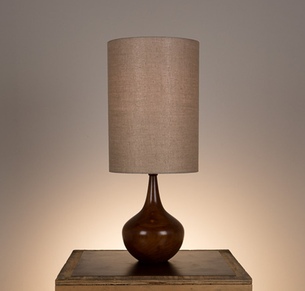 Bradley Table Lamp #2  Walnut in a medium brown finish. Open top lamp shade in 817 beige linen.