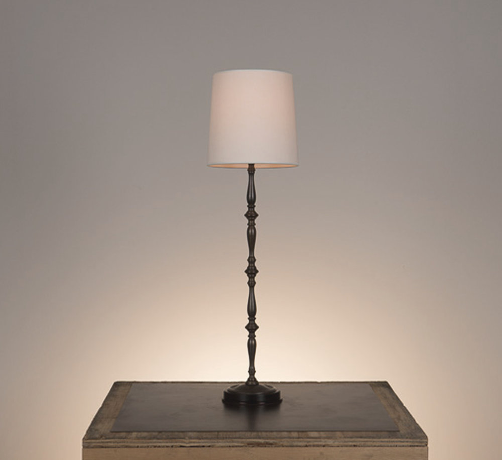 Laura Candlestick Table Lamp #1  Ebonized mahogany base and bronze metal finish. 738 white linen shade.