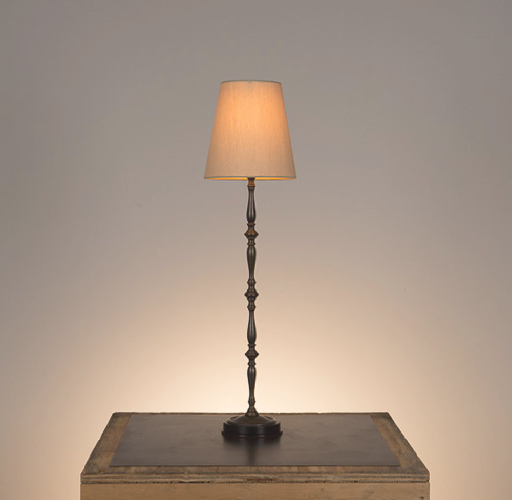 Laura Candlestick Table Lamp #2  Ebonized mahogany base, bronze finish. 738 beige linen shade.