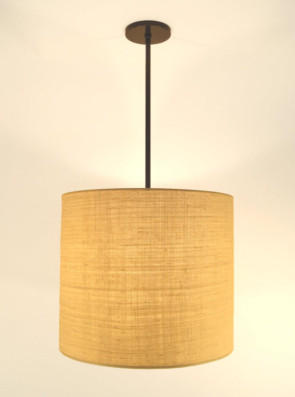 Aldo Pendant  Bronze / beige linen shade.