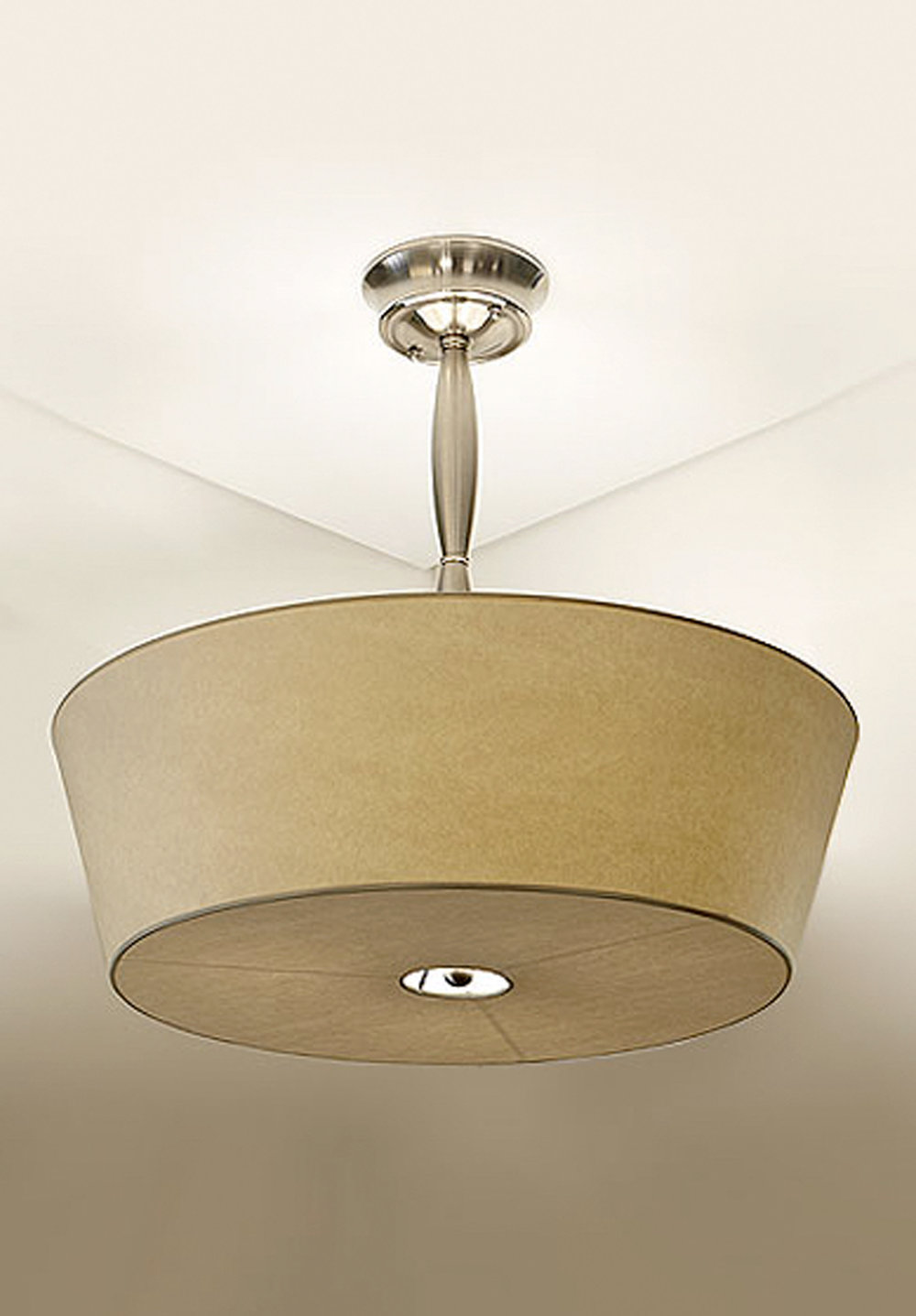 Alexis Pendant  Satin Nickel / vellum shade.