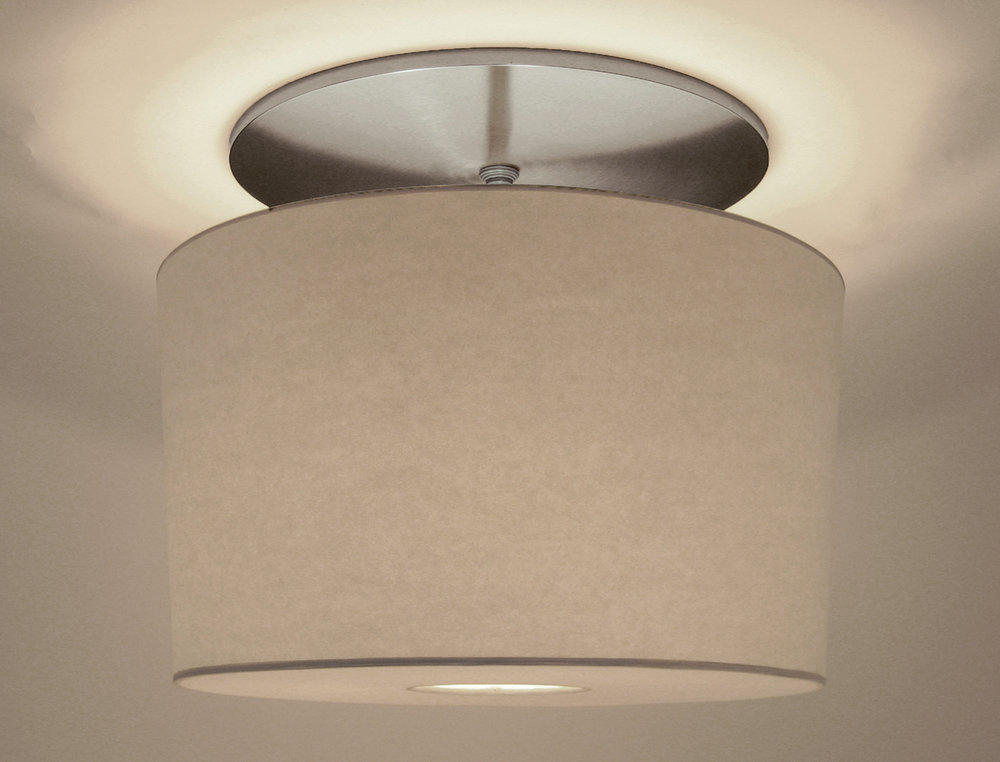 Duvall Drum Pendant  Satin nickel / white paper shade.
