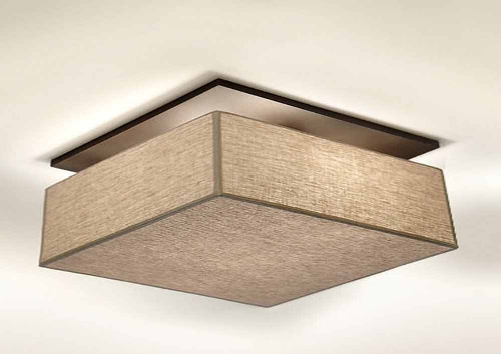 Felix Flush Mount  Bronze / beige linen shade.