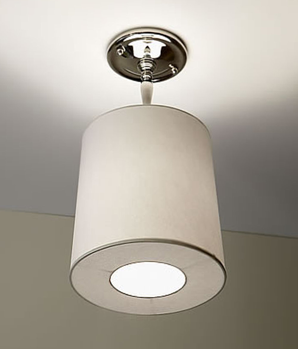 Laura Flush Mount  Polished nickel / white linen shade.