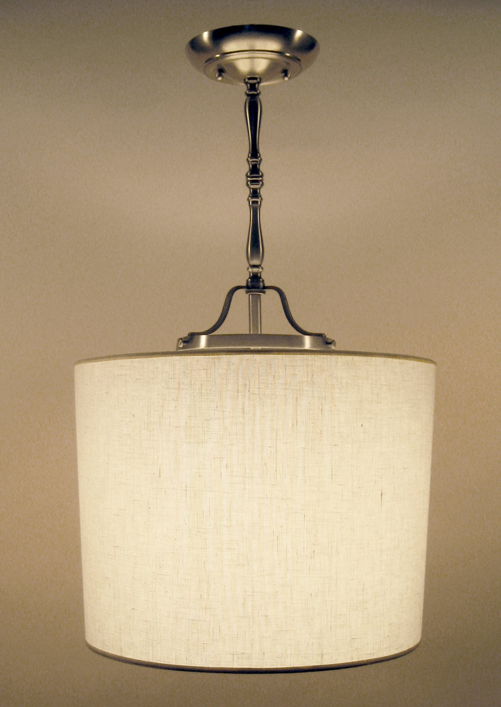Modified Laura Pendant  Satin nickel / white linen shade.