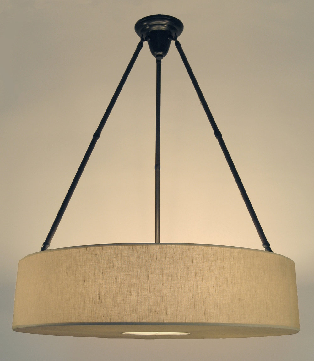 Spencer Chandelier  Bronze / beige linen.
