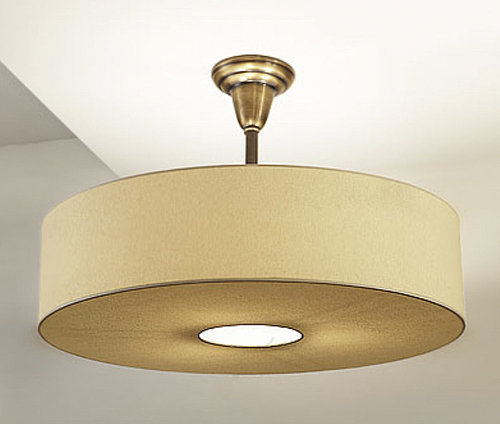 Spencer Pendant  Antique Brass / beige linen shade.