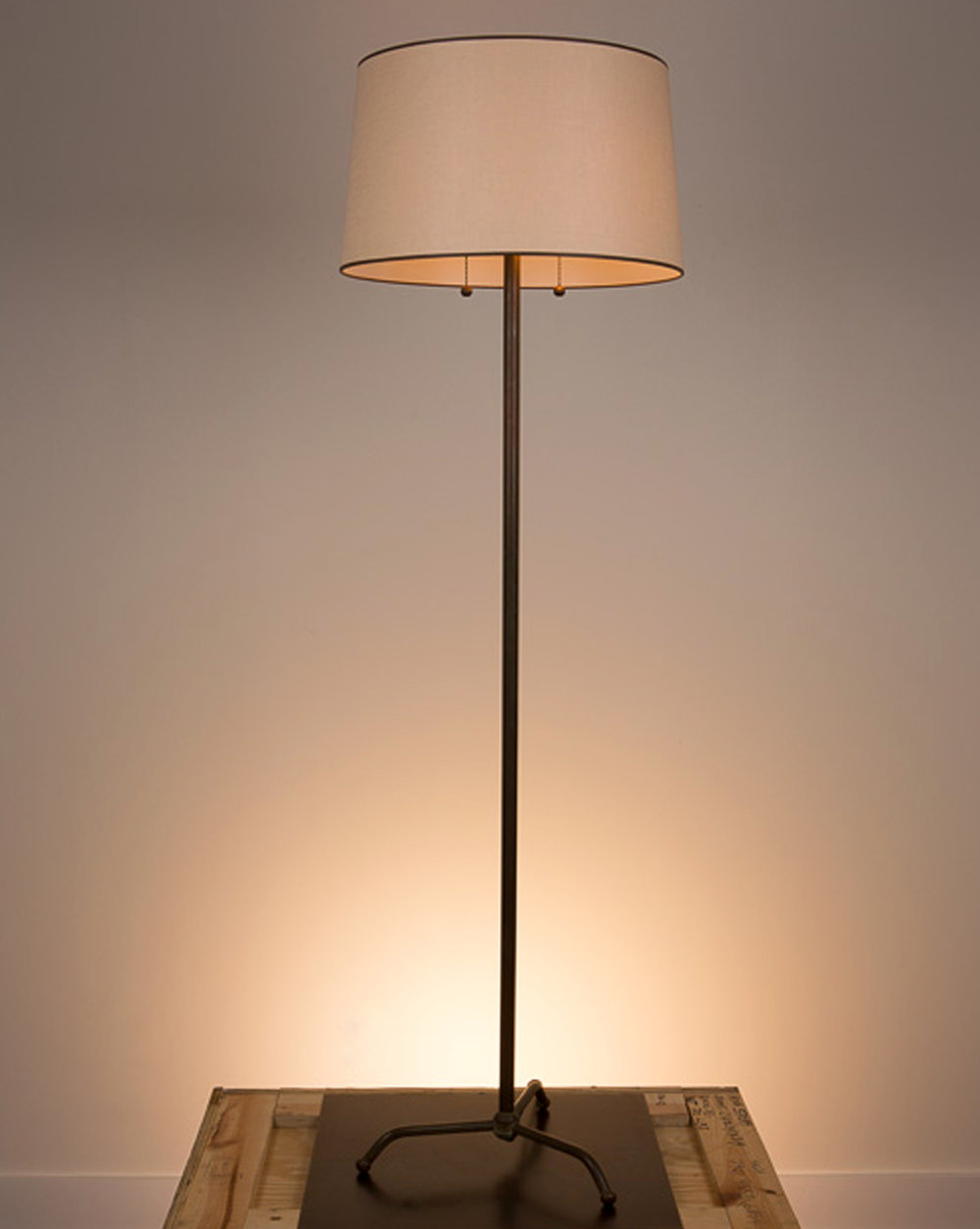Lucas Floor Lamp  Bronze finish. 738 beige linen shade with chocolate brown trim.