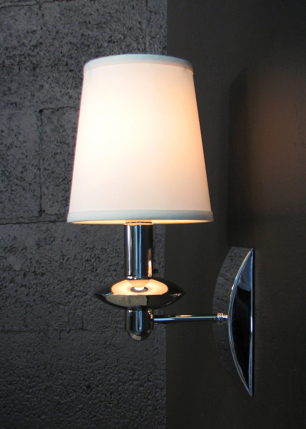 Alcazar Sconce  Polished nickel / beige pongee silk shade.