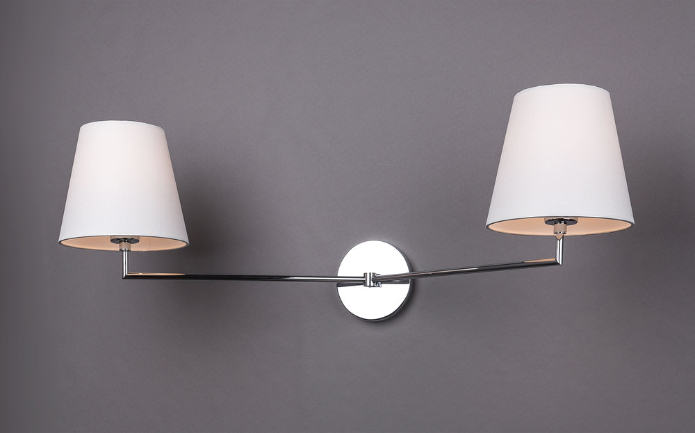 Jasper J Double Arm Sconce  Polished nickel / off-white pongee silk shades.