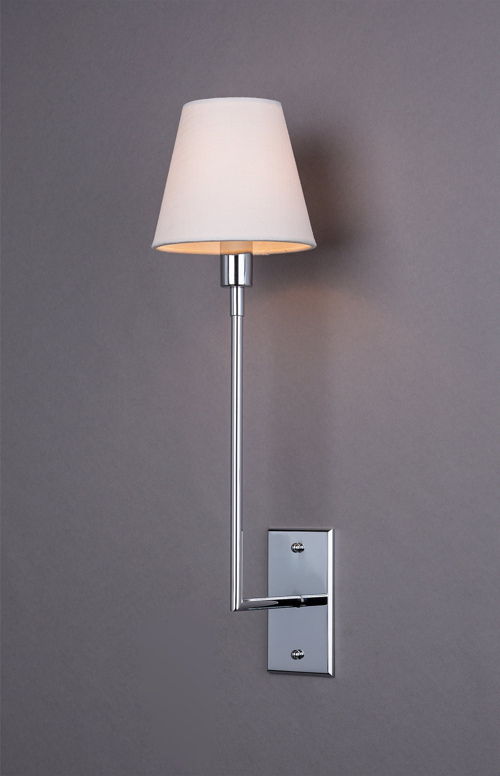 Jasper J Single Arm Sconce  Polished nickel / white linen shade.