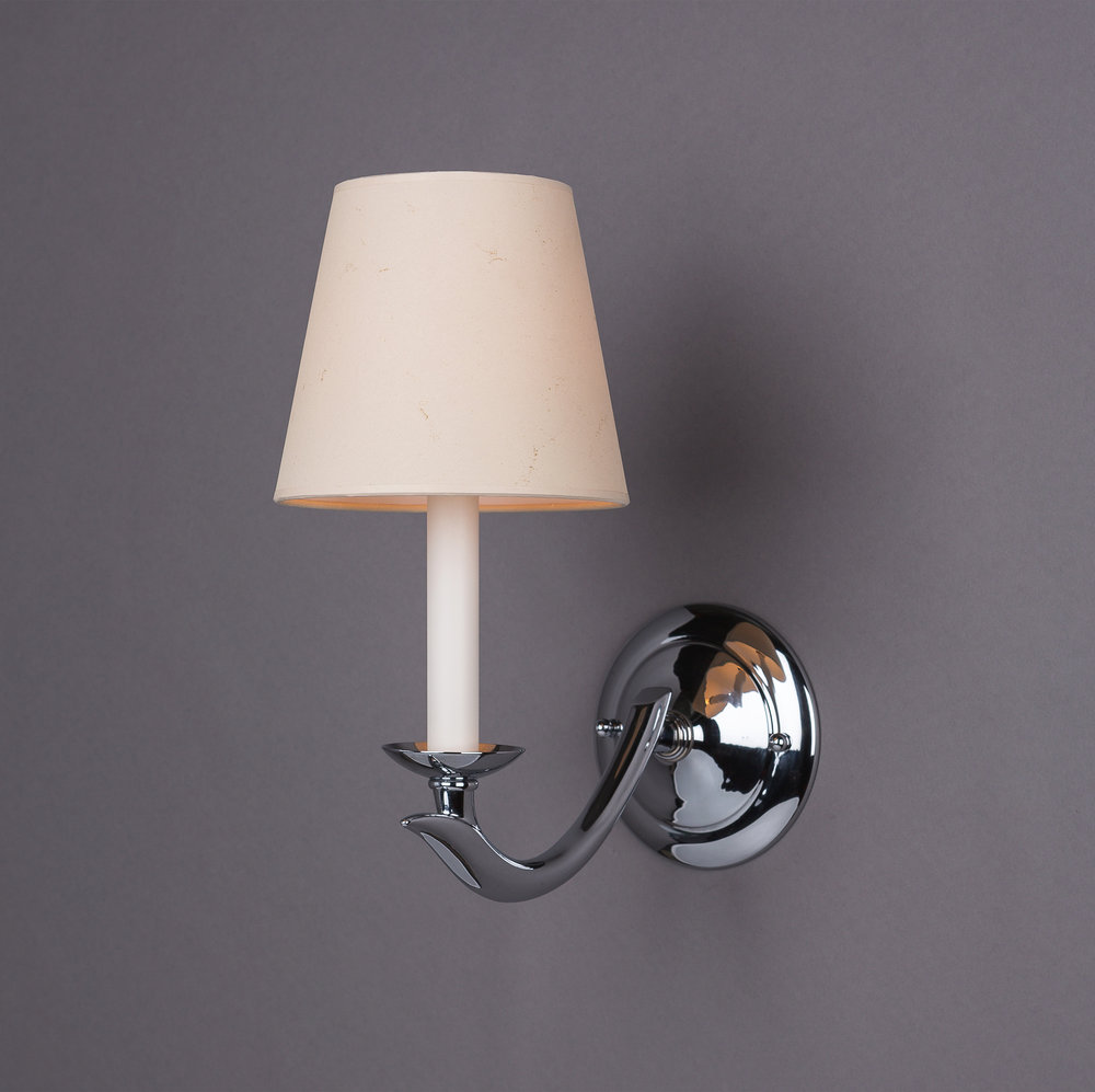 Jules Sconce  Polished chrome / parchment shade.