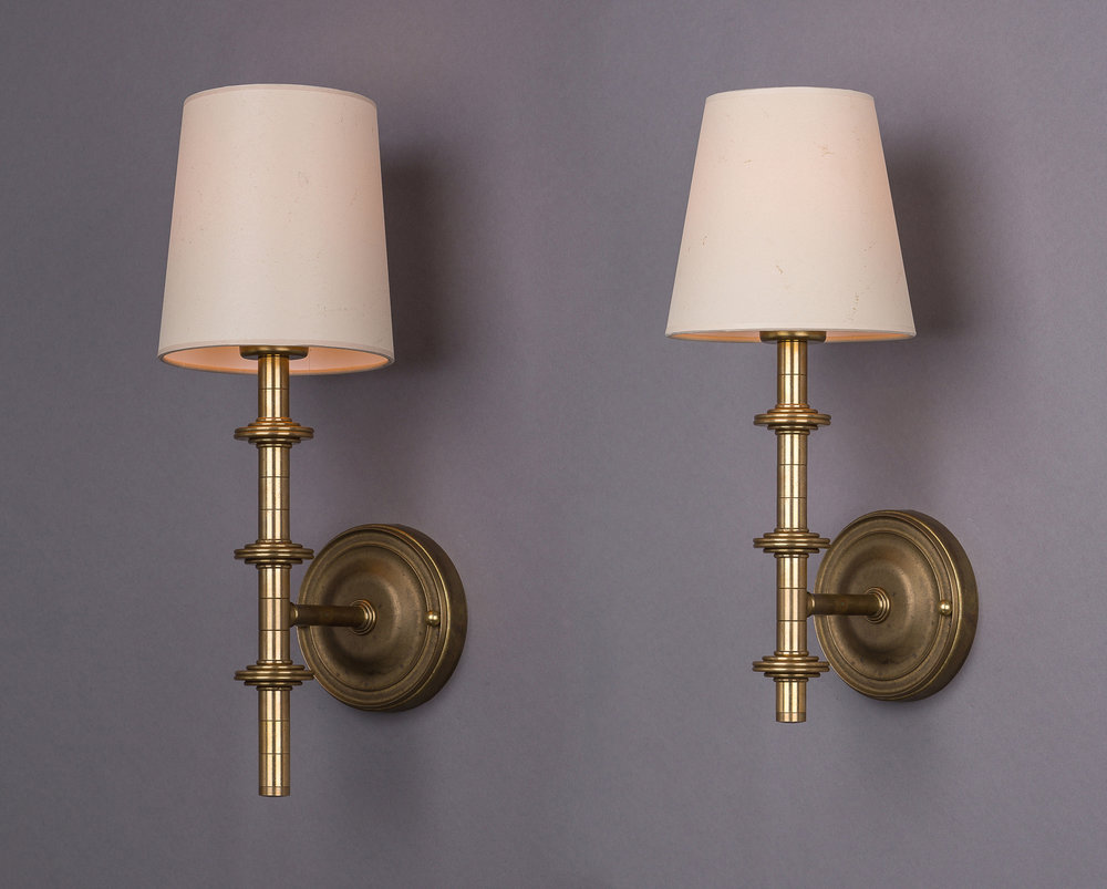 Marcil Sconce  Unlacquered raw brass / parchment shades.