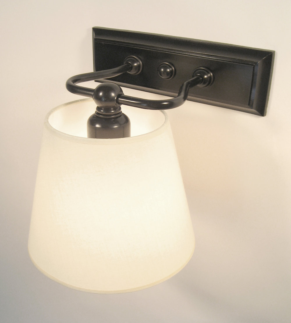Morgan Sconce  Bronze / eggshell linen shade.