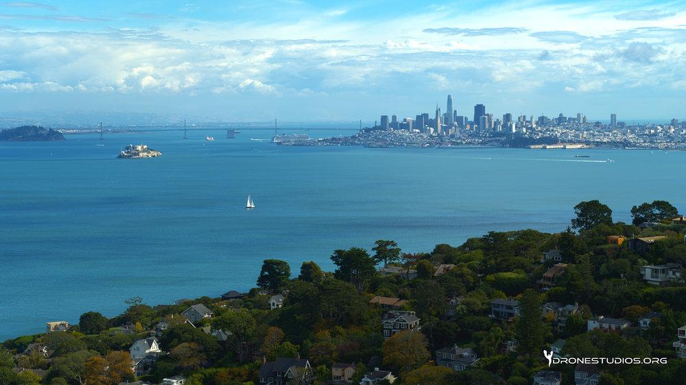 Drone photo of San Francisco shot from Sausalito, California
