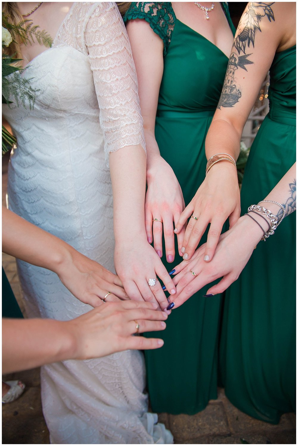 Haley hand-made a ring for each of her bridesmaids in her wedding colors!