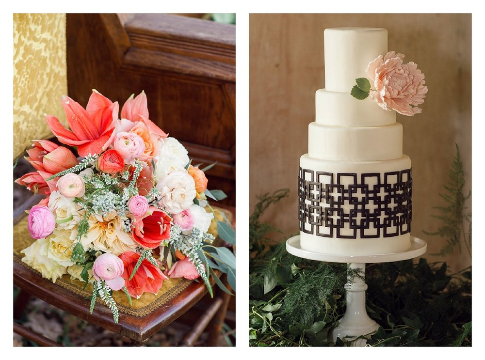 Interlocked styled wedding cake and florals.jpg